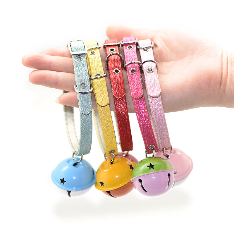 Pet Large Bell Neck Ring Dog Cat Collar Case Small And Medium And Cats Supplies Colorful Pu Hide Substance Traction Neck Ring