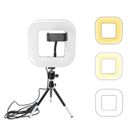 LED Square Light with Tripod Mobile Phone Stand Adjustable USB Charging for Selfie Live SD998