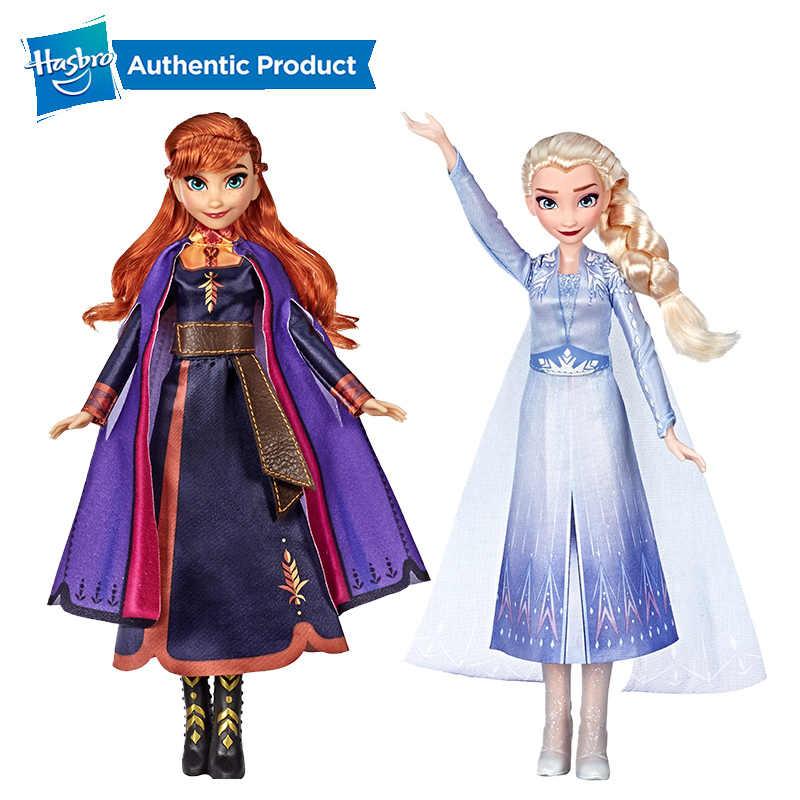 Hasbro disney Frozen 2 Поющая Эльза Анна Модная Кукла с музыкой в фиолетовом платье лучший праздник подарок на день рождения для детей