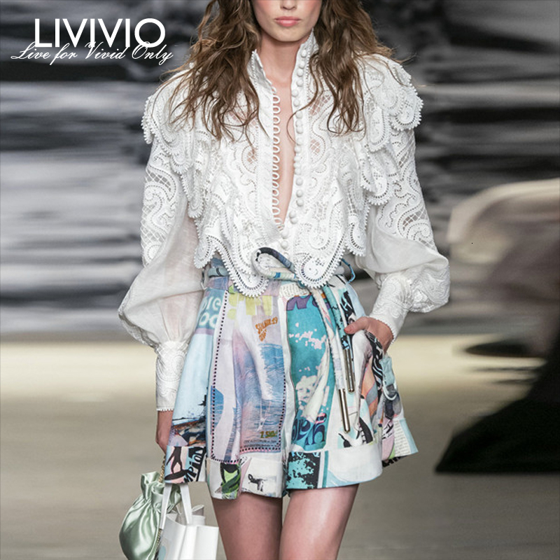 [LIVIVIO] ZIM Vintage Lace Hollow Out Ruffle Lantern Long Sleeve Stand Neck + Print Shorts Women Two Piece Matching Sets