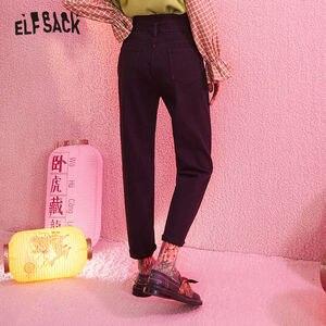 Image 3 - ELFSACK siyah katı tek düğme rahat pantolon kadın 2020 kış orta bel kuşaklı düz gevşek ofis bayanlar temel pantolon