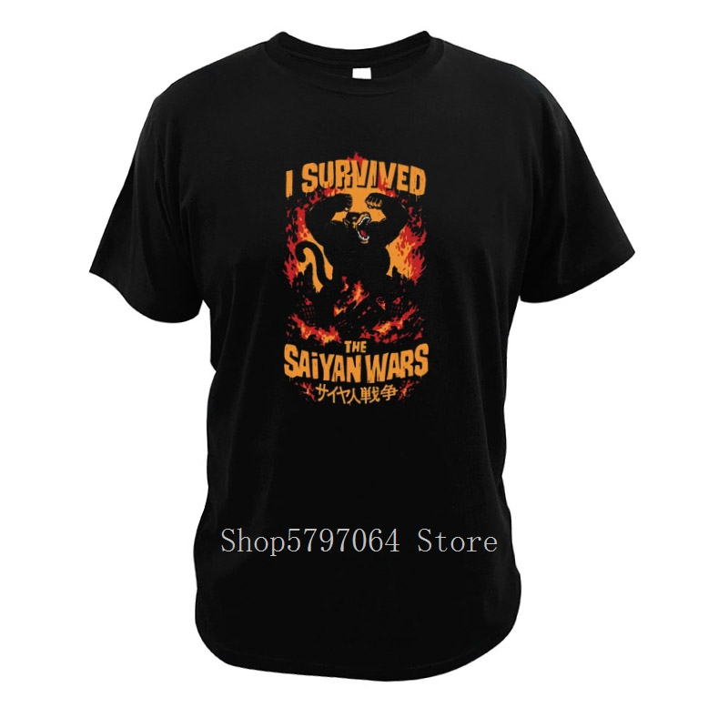 I Survived The Saiyan Wars Gorilla <font><b>Parody</b></font> <font><b>Tshirt</b></font> 100% Cotton Fire War Size 3XL Gift Digital Print T Shirt image