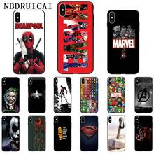 NBDRUICAI Avengers Marvel Spider, Iron Man Thanos Phone Case Cover for iPhone 11 pro XS MAX 8 7 6 6S Plus X 5 5S SE XR case spider man into the spider verse for funda iphone xs max case cover for case iphone 6s plus 5 5s se 6 7 8 plus xr x cases cover