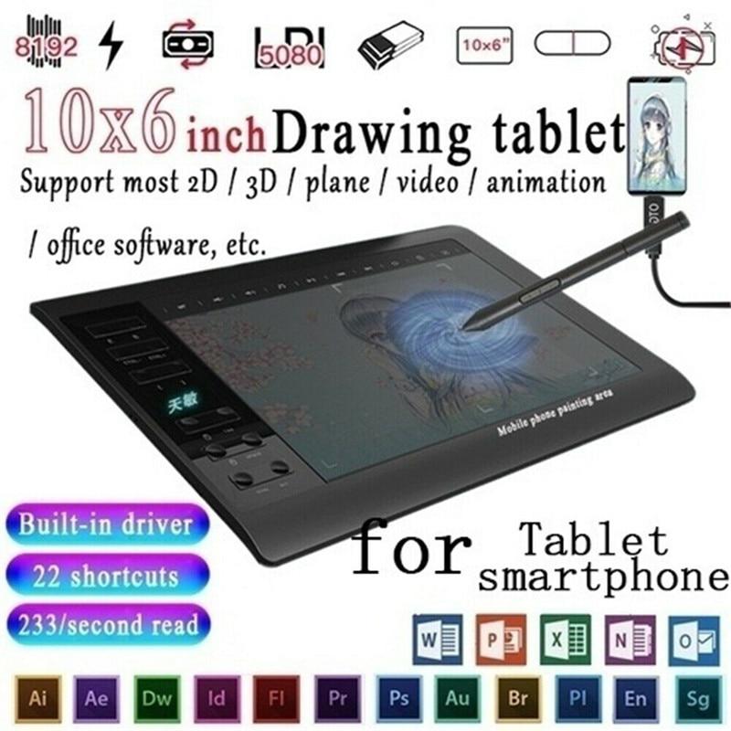 10*6 ''IPS HD graphique dessin numérique tablette moniteur stylo affichage 233 Point lecture rapide pression détection universelle