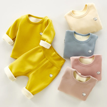 2pcs/Set Baby Winter Plush Clothes Thick Warm Toddler John Pajamas Cotton Outfits Long Sleeve Sleepwear Boys Girl Casual Suits 0