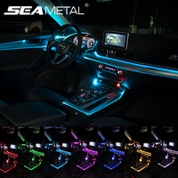 12V Car Led Ambient Light Multicolor APP/ Sound Control Atmosphere Light Car EL Neon Wire Strip Light RGB LED Car Interior Light