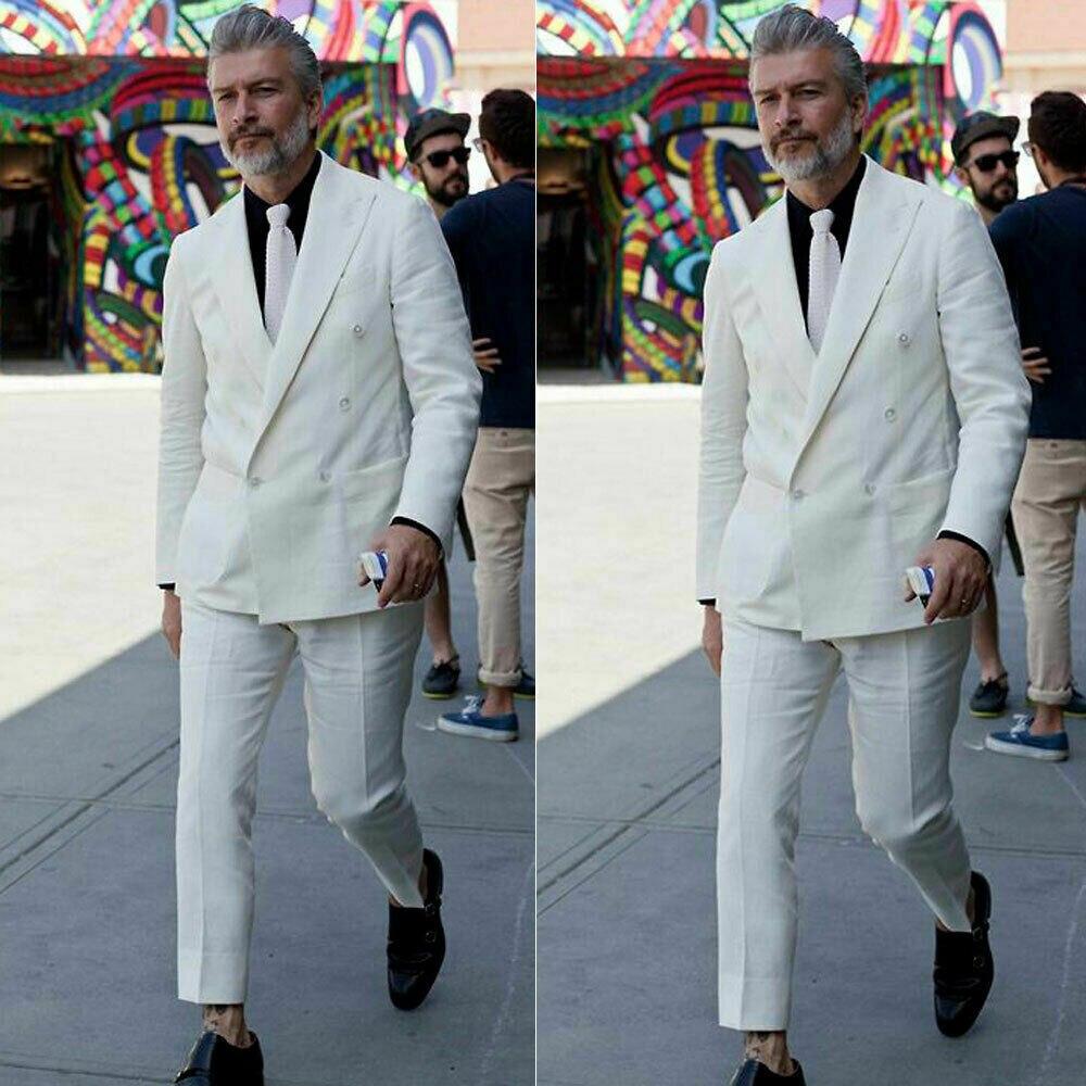 Double-Breasted Linen Suit For Men Formal Prom Dinner Groom Wedding Tuxeds