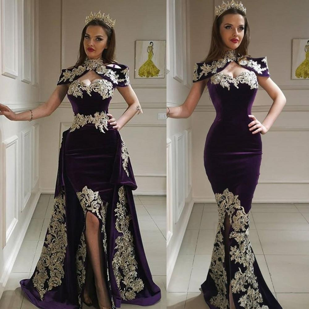 Purple Mermaid Prom Dresses High Collar Sweetheart Lace Appliques Side Split Evening Gowns With Detachable Train Formal Dress