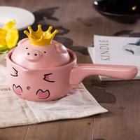 Creative Mini Pink Pig Ceramic Milk /Stock Pots Cookware with Cover and Single Handle Non Stick Cooking Pot