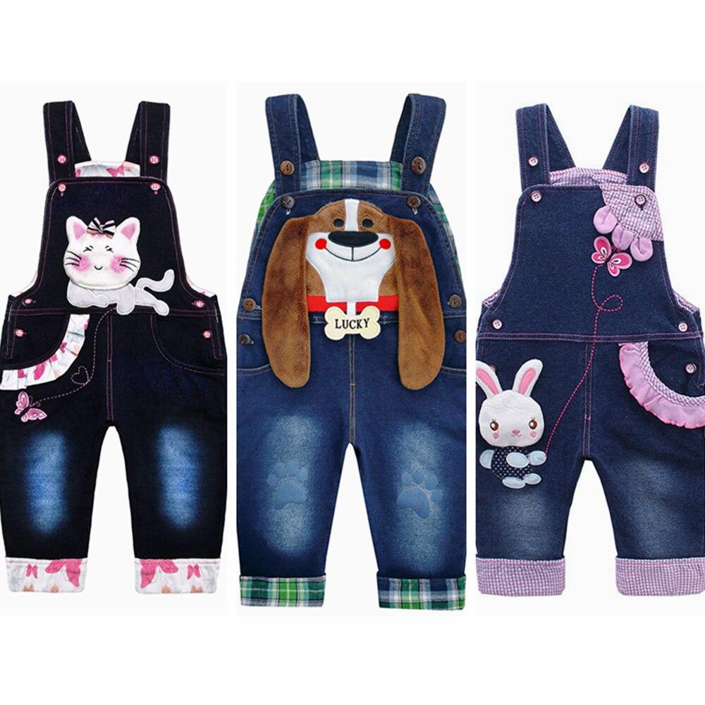 От 0 до 4 лет Детские комбинезоны для девочек брюки из хлопка для малышей; Джинсы для мальчиков; Комбинезоны с кроликами Bebes одежда с героями мультфильмов для детей ясельного возраста джинсовые штаны, комбинезон, детская одежда 1