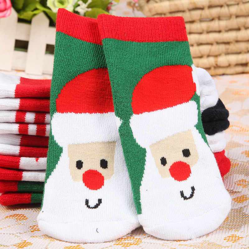Baby Girls Boys Christmas Cotton Socks Winter Autumn Warm Socks Children Striped Terry Snowflake Elk Santa Claus Bear Socks Xmas
