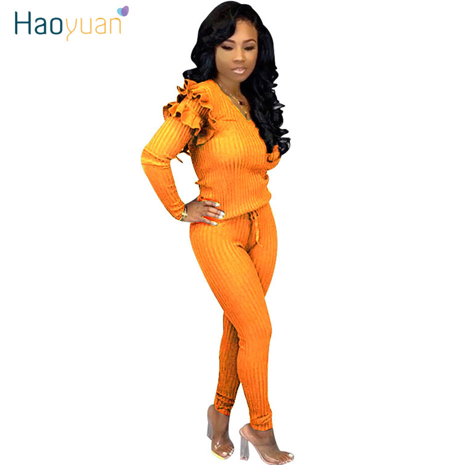 HAOYUAN High Stretch Knitted Two Piece Set Sexy Club Outfits Women Autumn Winter Ruffle Long Sleeve Top And Pant Matching Sets