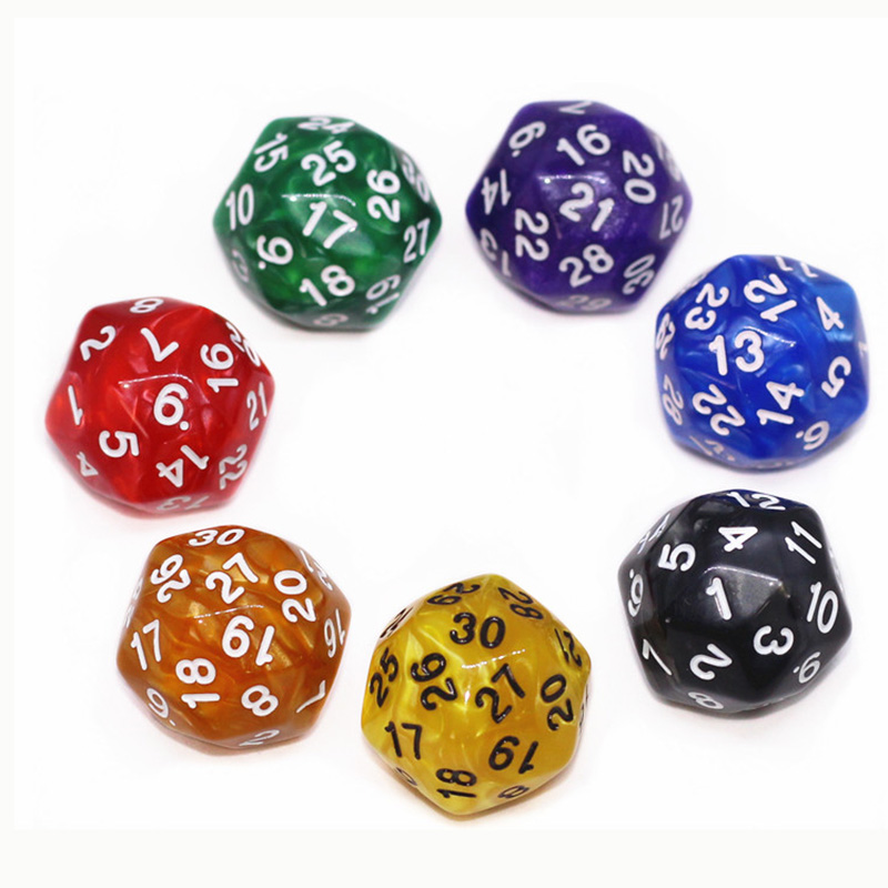 1 Piece Dice Colorful Digital Dice Puzzle Game Send Children 30 Sided Dice