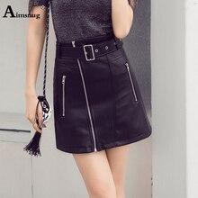 Aimsnug Plus Size S-xxl Slim PU Matte Skirts Women High Waist Waistband Skirt Mini Black zipper Splice Female A-line Skirt Saias
