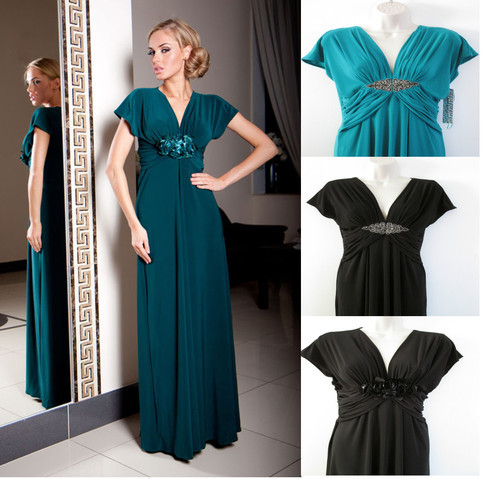 Free Shipping Hot New Ladies Vintage Sexy Formal Maxi Short Sleeve Cap Sleeve Custom Size Black/blue Mother Of The Bride Dresses