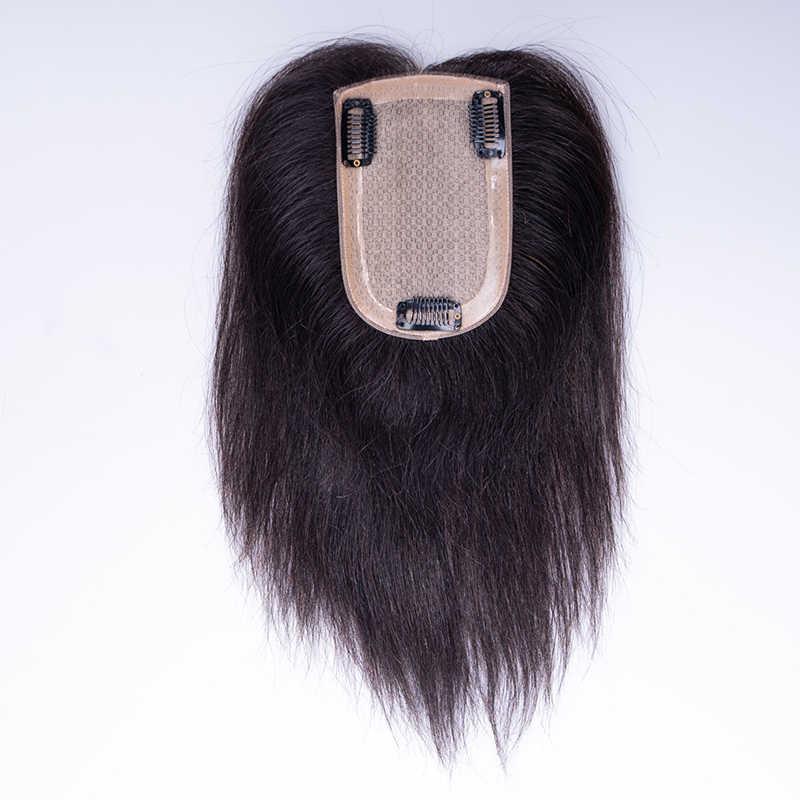인간의 머리카락 토퍼 가발 여성을위한 스트레이트 중간 실크베이스 클립 Toupee 레미 헤어 피스