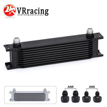 VR RACING-transmisión Universal de aluminio del motor AN10 enfriador de aceite 10 filas plateado/Negro VR7010