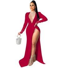 2021 spot fashion sexy V-neck hot drill and fork long sleeve nightclub dress dress European and American women's dress