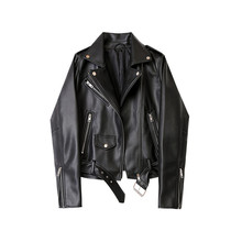 Autumn White Black Soft Faux Pu Leather Short Jacket Korean Chic Women Turn-down Collar Loose Pu Coat Zipper Motorcycle Outwwear