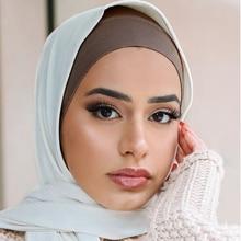 2020 Muslim Cotton Head Scarf Turban Soft Stretch Inner Hijabs Women Tube Headscarf Bonnet Islamic Turban Hijab Cap Under Scarf