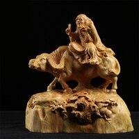 Boxwood Carving Furniture Decoration Statue Craft Culture Gifts Figure Collection Lao Tzu Sculpture Home Decor