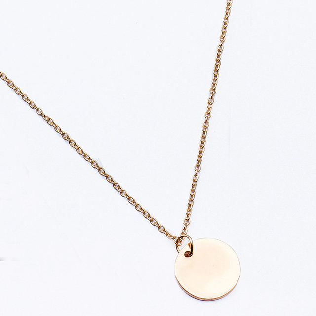Minimalista redondo moneda disco cadena colgante collar para mujeres fiesta moda joyería oro Color aleación disco geométrico cadena Chokers