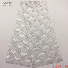Anna white embroidery feather african net lace nigerian tulle fabric 5 yards/piece high quality french laces fabrics for dresses beautifical lace african fabrics african tulle laces designer lace fabric white lace fabric high quality 5 yards lot ml4n705