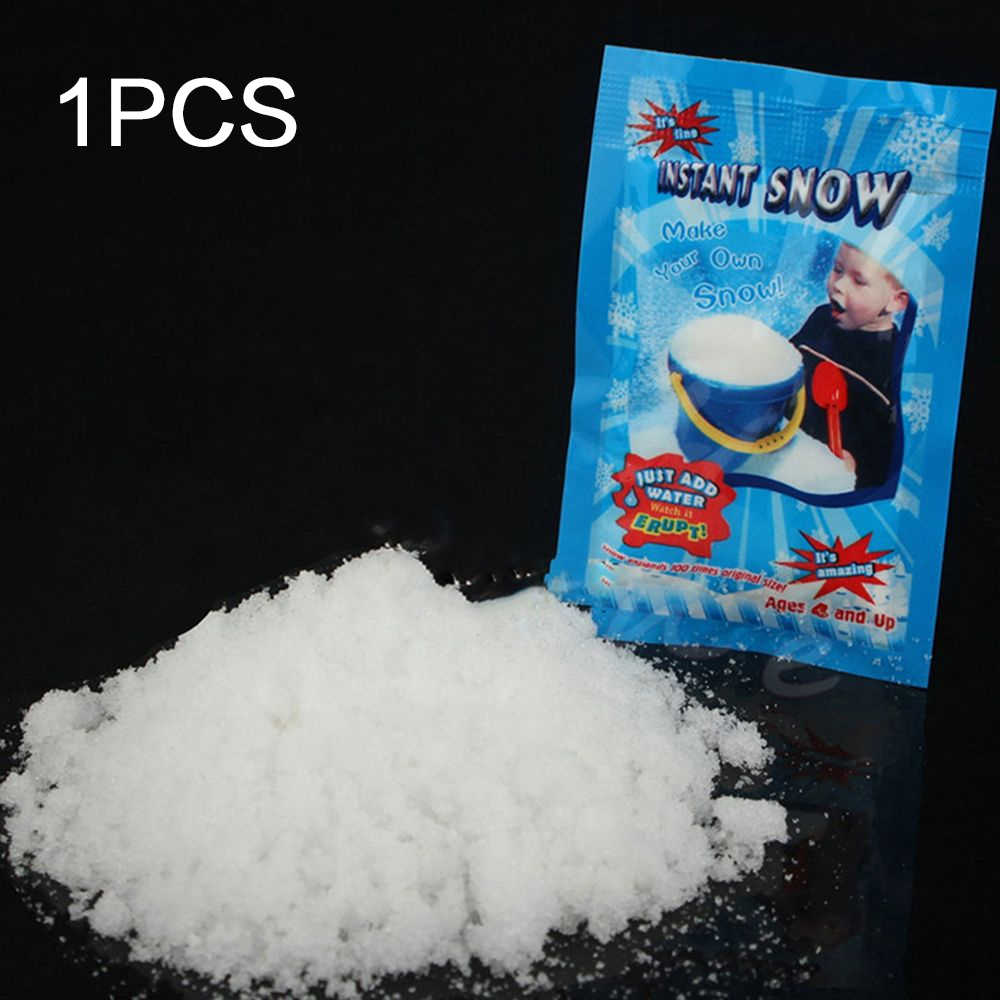 New 1 Pack Artificial Snow Instant Snow Frozen Powder Fluffy Snowflake Super Absorbant Party Magic Prop Christmas Party Decor E