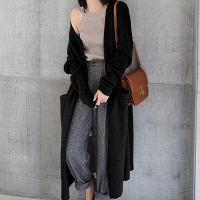 Ailegogo New 2020 Autumn Winter Women's Sweaters Korean Style Fashionable Minimalist Solid Color Casual Long Cardigans SWC8133 6