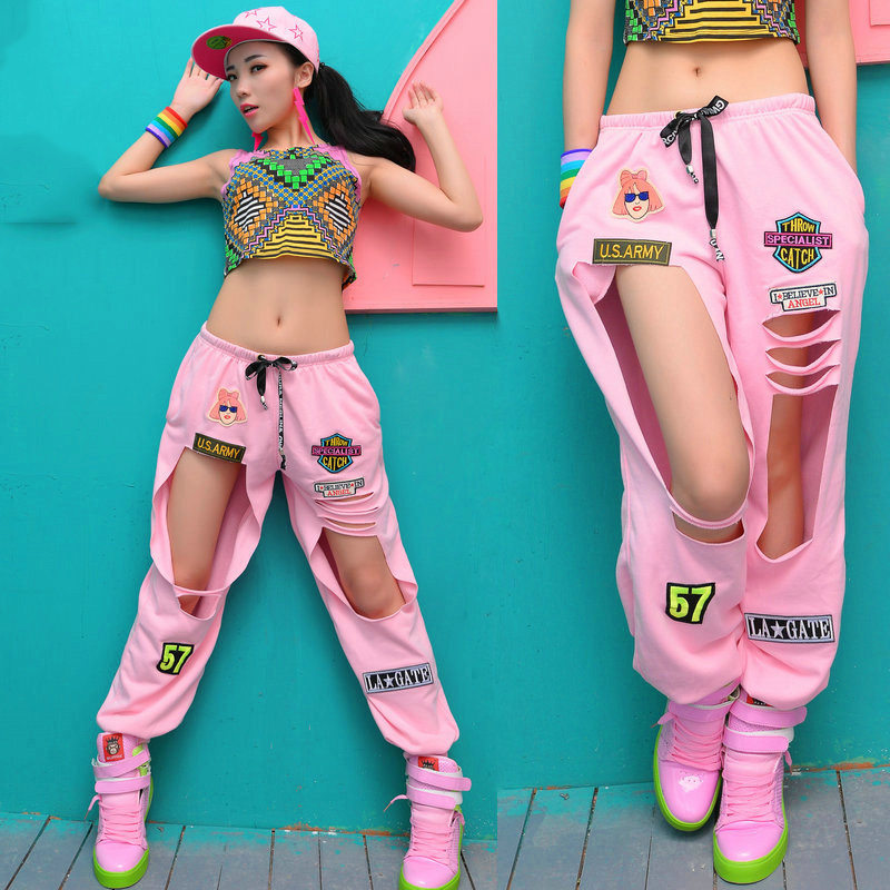 Jazz Dance Costumes Kids Fashion Cute Hole Pants Girls Hip Hop Clothing Women Stage Rave Outfit Trousers Street Dancewear DT1070