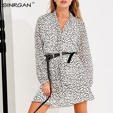 SINRGAN, Mini vestido blanco con estampado de estrellas sexi con cuello en V, vestido Vintage de manga larga, ropa interior para mujer, ropa de calle de otoño