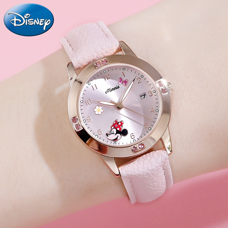 Minnie Mouse Calendar Luxury Bling Crystal Jewelry Disney Cuties Girl Watches Child Watch Student Kids Clock Soft PU Reloj Mujer