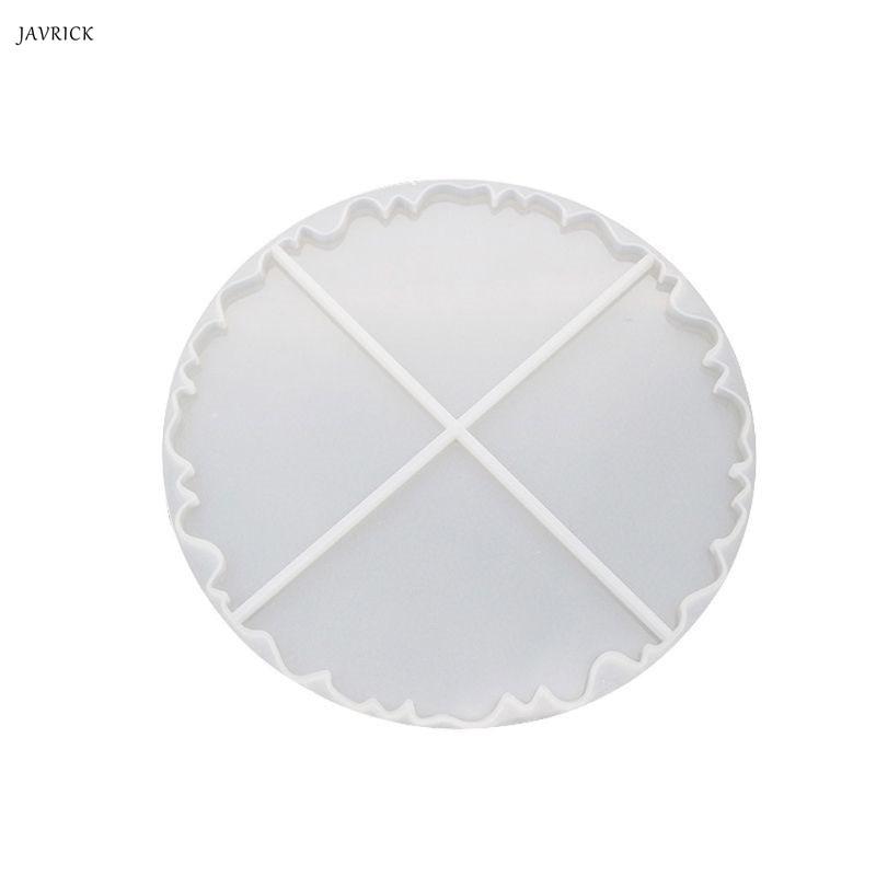 JAVRICK Resin Molds Irregular Wave Round Coaster Silicone Mold Epoxy Jewelry Making