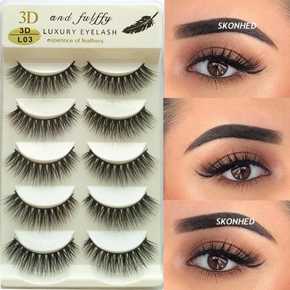 5 Pairs 3D Faux Mink Hair False Eyelashes Wispy Fluffy Multilayers Natural Long Lashes Extension Tools Handmade Cruelty-free