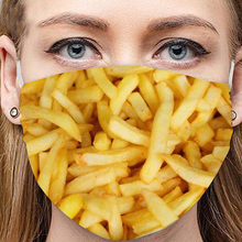 Buger Pizza Fries imprimir adultos máscara facial divertida 1 Uds algodón lavable Reutilizable Mascarilla Reutilizable Mascara De Boca Maszk