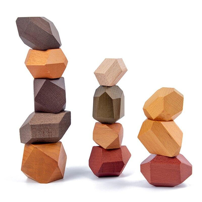 Jouet éducatif Montessori équilibré en bois pour enfants, bloc arc-en-ciel coloré, jeu Jenga de Style nordique
