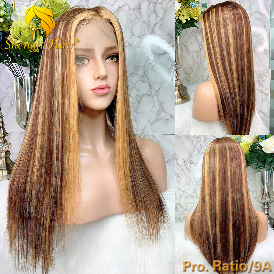 Highlights #27 Lace Front Human Hair Wigs Pro. Ratio/9A Shengji Remy Hair 13x6 Brazilian Straight Lace Front Wig With Baby Hair