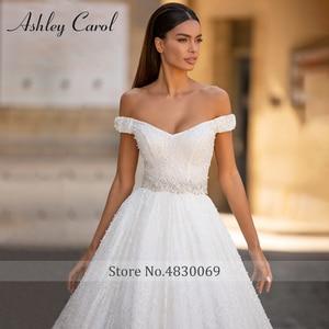 Image 3 - אשלי קרול נסיכת חתונה שמלת 2020 יוקרה חרוזים תחרה מתוקה עם גלימה להסרה אונליין כלה שמלת Vestido דה Noiva