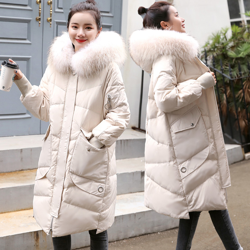 Winter Jacket Women 90% White Duck Down Coat Female Real Fur Hooded Parkas Down Jacket Loose Snow Outwear Coats LWL1159