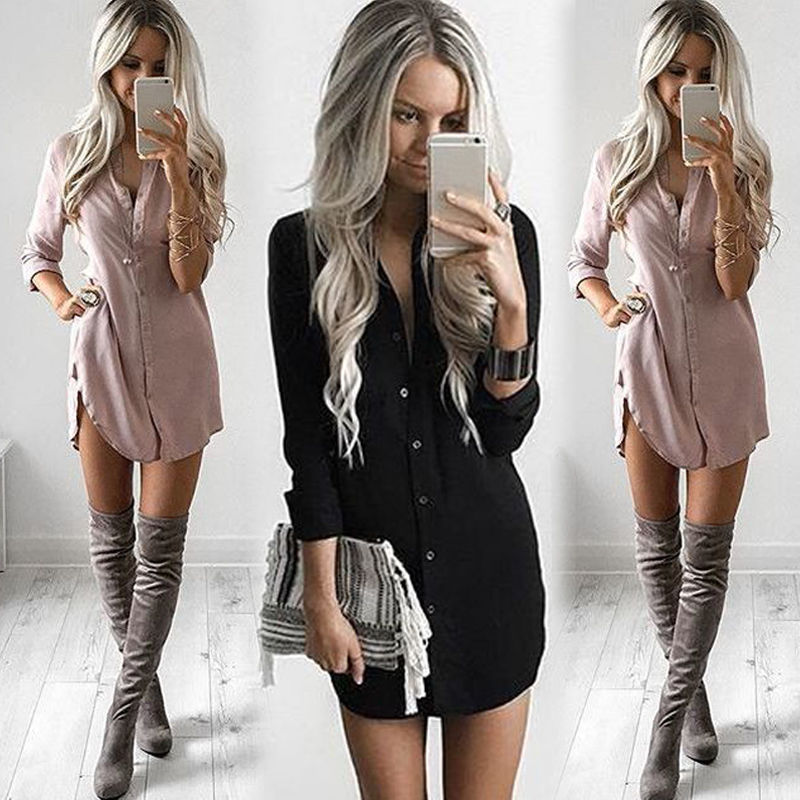 New Fashion Women Loose Long Sleeve Casual Chiffon Blouse Shirt Dress Stylish Womens Sexy V-neck Blouses Mini Dresses