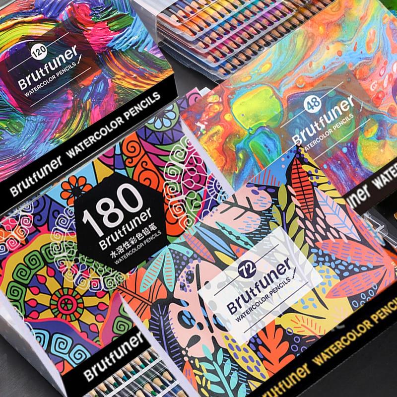 Brutfuner arte profissional aquarela/aquarelle lápis colorido 48/72/120/150/180 cores esboço desenho cor lápis lapis de cor