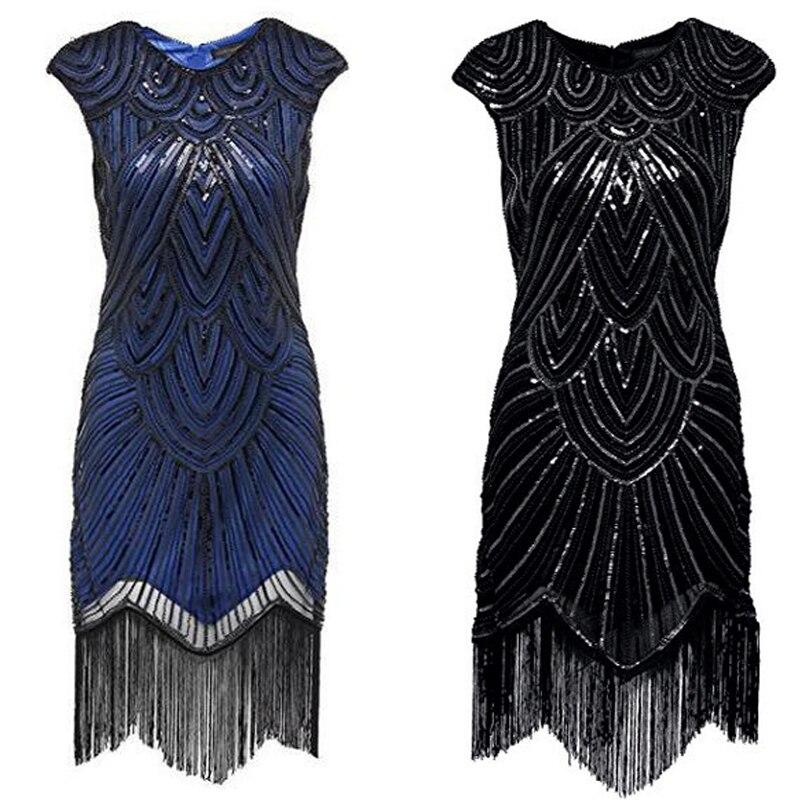 Femmes 1920s Vintage clapet magnifique Gatsby robe de soirée Sequin frange Midi robes accessoires Art déco embelli vêtements DT1347