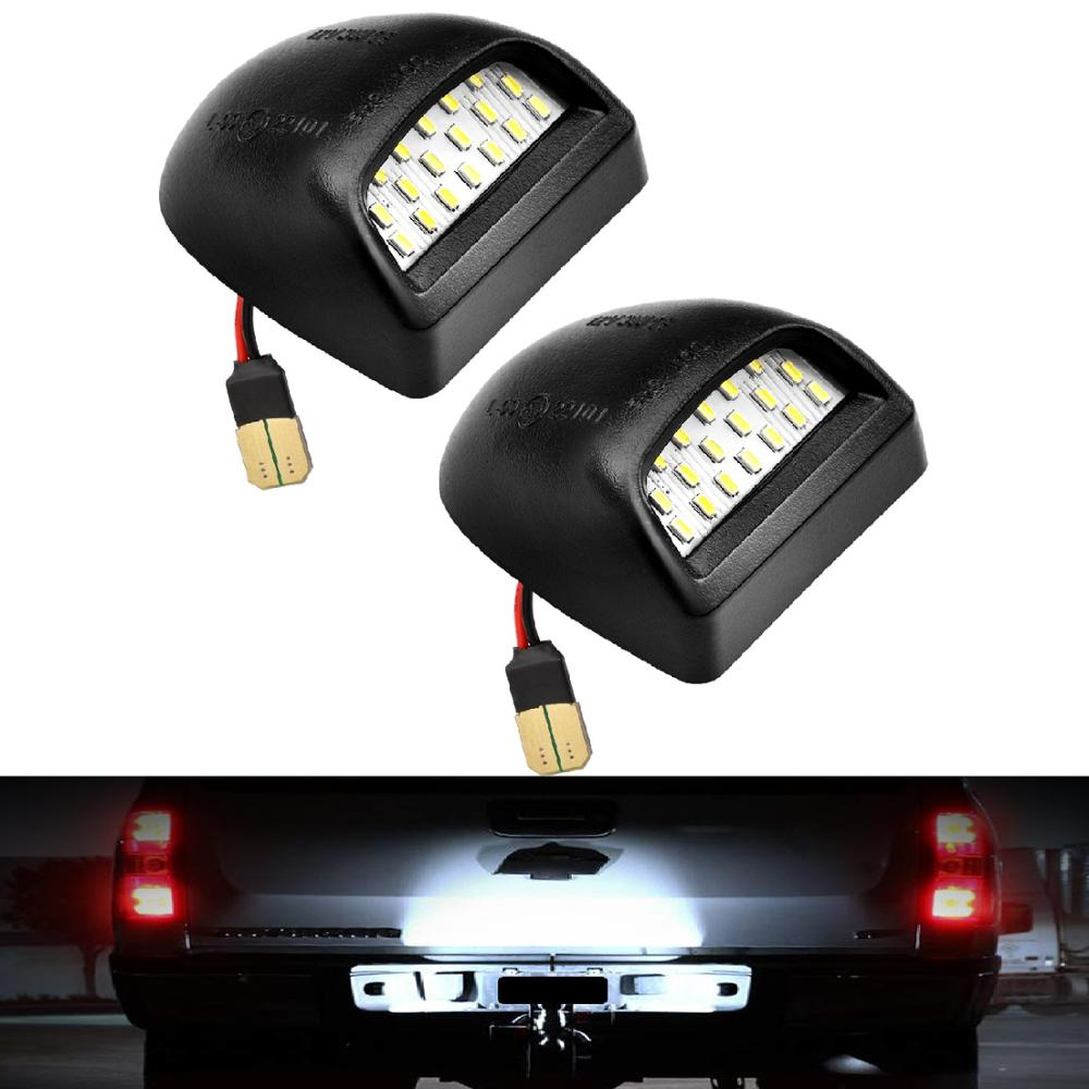 2 pcs Suburban GMC Sierra 1500 2500 3500 Tahoe Chevy Silverado 1500 2500 3500 Yukon XL LED License Plate Light Lamp Assembly Replacement for Cadillac Escalade