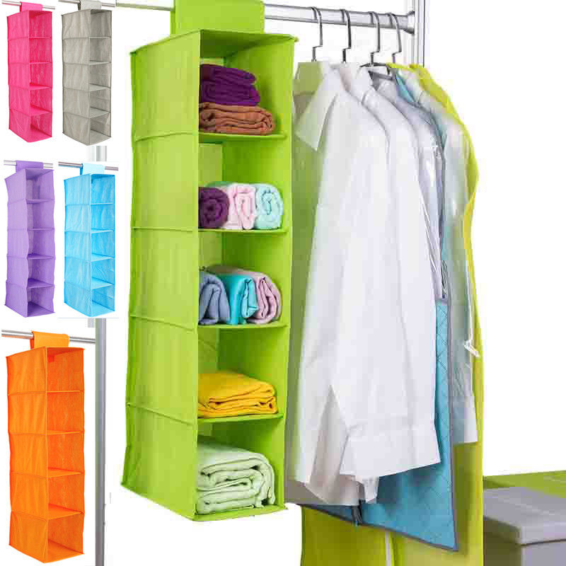 5 Shelf Clothes Hanging Organizers Pant Organizers Holder Wardrobe Section Storage Closet Organiser Shoe Clothes Garment