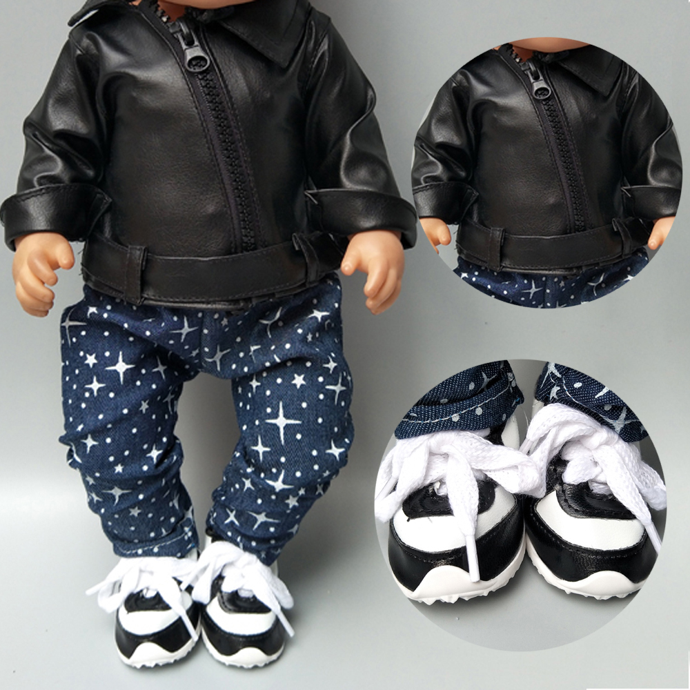 Doll Jacket For 43cm Born Baby Doll Clothes Black PU Leather Doll Coat For 40cm 38cm Baby Doll Winter Wear Drop Shipping