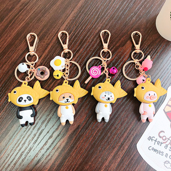 2020 Funny Creative Key Chain Toys Taiyaki Cat Dog Panda Pig Cute Keychains Ornaments Dolls Key Ring Pendant Girls Friends Gifts image