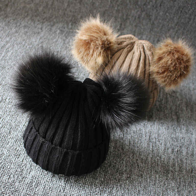 Newborn Kids Baby Boys Girls Fur Pom Hat Winter Warm Knit Bobble Beanie Cap 1-3T