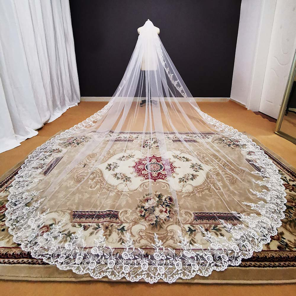 One Layer 3.5 Meters Long Wedding Veil White Ivory Lace Bridal Veil with Comb Bridal Headpiece Voile Mariage