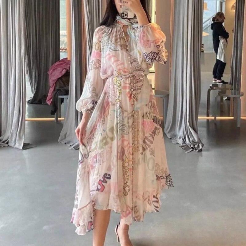 Letter print women midi dress silk lady dress with sashes