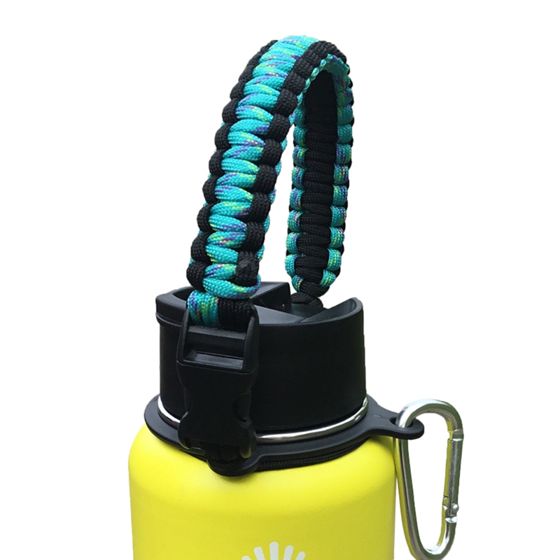 1 PC Water Bottle Strap Handle Ring Holder Buckled Braided Paracord Kettle Carrier Lanyard Cord Rope With Compass